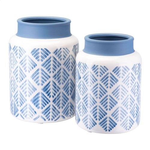 Zig Zag Vase Lg Steel Blue And White
