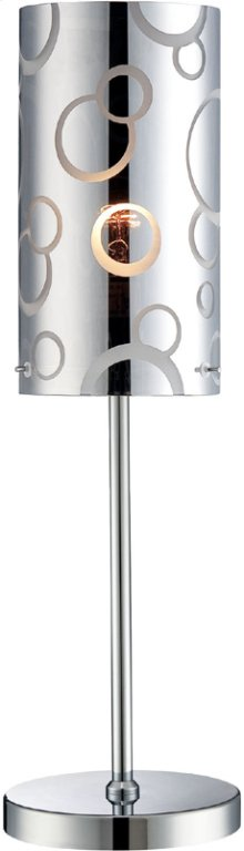 Table Lamp, Chrome/painted Glass Shade, E27 Cfl 13w