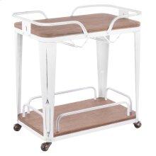 Oregon Bar Cart - Vintage White Metal, Brown Bamboo