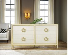 Abstract Dresser, Painted Antique Cream W/ Gold Leaf Accents. Solid Brass Hardware.