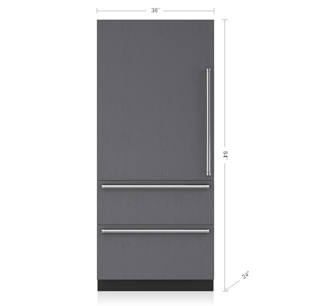 "Subzero36"" Designer Over-And-Under Refrigerator/freezer With Ice Maker - Panel Ready"