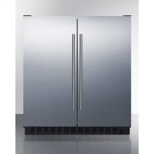 Frost-free Side-by-side Refrigerator-freezer for Built-in or Freestanding Use Wrapped Stainless Steel Exterior and Digital Controls