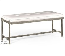 Silver Iron & White Leather Bench