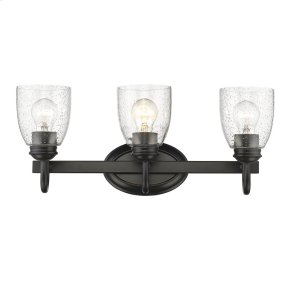 Parrish 3 Light Bath Vanity in Black with Seeded Glass