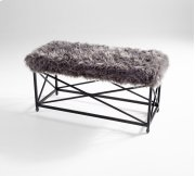 Ushanka Bench Iron // Wood // Faux Fur Graphite and Grey Product Image