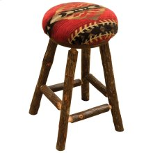 "Round Counter Stool - 24"" high - Natural Hickory - Standard Leather"