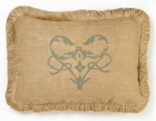 Blue Damask Burlap Pillow
