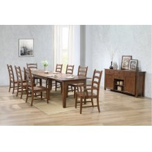 BR-134-AMSB10PC  Rectangular Extendable Table Dining Set  Sideboard  Amish Brown