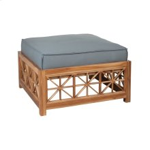 Teak Lattice Square Ottoman Cushion in Grey