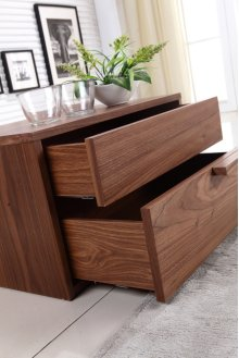 The Dolce Left Side Walnut Veneer Nightstand / End Table
