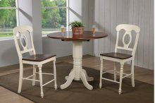 "DLU-ADW4242CB-B50-AW3PC  3 Piece Andrews 42"" Round Drop Leaf Pub Table Set  Napoleon Stools"