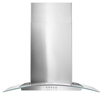"Whirlpool(R) 30"" Concave Glass Wall Mount Range Hood"