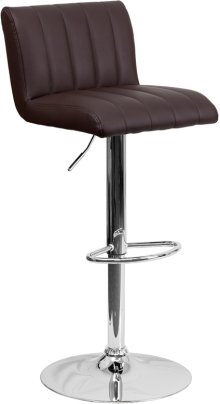 Contemporary Brown Vinyl Adjustable Height Barstool with Vertical Stitch Back\/Seat and Chrome Base