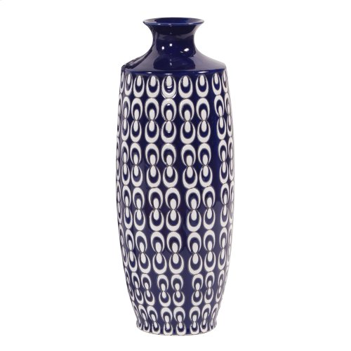 Navy Blue and White Textured Ceramic Vase, Small