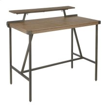 Gia Counter Table - Antique Metal, Brown Bamboo