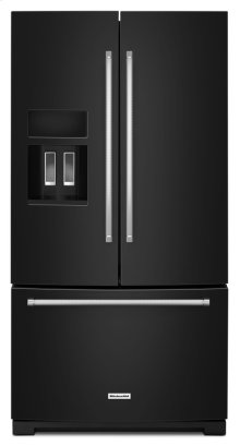 26.8 cu. ft. 36-Inch Width Standard Depth French Door Refrigerator with Exterior Ice and Water and PrintShield finish - Black