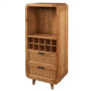 Maile KD Bamboo Small Wine Chest w/ 2 Bamboo Panels Drawers, Tawny Brown Product Image