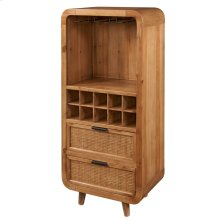 Maile KD Bamboo Small Wine Chest w/ 2 Bamboo Panels Drawers, Tawny Brown