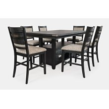 Altamonte Dining Room Set: Counter Height Dining Table & 6 Upholstery Stools, Dark Charcoal
