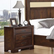 Riata - Three Drawer Nightstand - Warm Walnut Finish