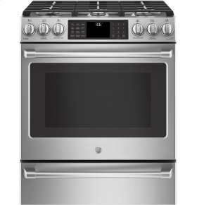 """GE Cafe™ Series 30"""" Slide-In Front Control Range with Warming Drawer"""