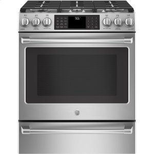 "GE CafeSeries 30"" Slide-In Front Control Range with Warming Drawer"