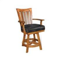 """24""""H Sedona Slatback Barstool w/ Swivel, Cushion Seat Product Image"""