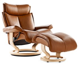 Stressless Magic Large Recliner and Ottoman