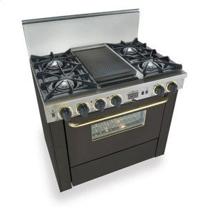 """Five Star36"""" Dual Fuel, Convect, Self-Clean, Open Burners, Black with Brass"""