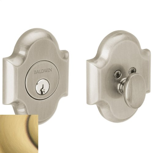 Satin Brass and Brown Arched Deadbolt