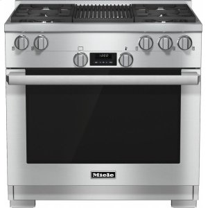 MieleHR 1135-1 G 36 inch range All Gas with DirectSelect, Twin convection fans and M Pro dual stacked burners