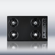 "30"" wide cooktop in black, with four burners and gas spark ignition"