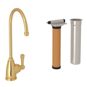 English Gold Perrin & Rowe Georgian Era C-Spout Filter Faucet with Metal Lever