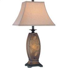 Table/nite Lamp - ANT.GOLD Body/fabric, E27 Cfl 32w & C 7w