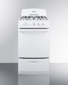 "20"" Wide Gas Range In White With Electronic Ignition and High Backguard"
