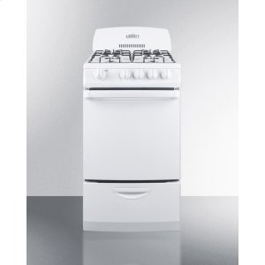 """Summit20"""" Wide Gas Range In White With Electronic Ignition and High Backguard"""