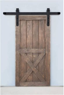 7' Barn Door Flat Track Hardware - Rough Iron Round End Carrier Style