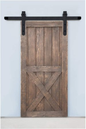 7' Barn Door Flat Track Hardware - Rough Iron Round End Carrier Style Product Image