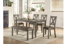 6-Piece Pack Dinette Set, Gray Finish