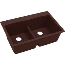 """Elkay Quartz Classic 33"""" x 22"""" x 10"""", Equal Double Bowl Drop-in Sink with Aqua Divide, Pecan"""