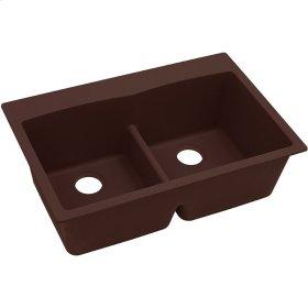 """Elkay Quartz Classic 33"""" x 22"""" x 10"""", Equal Double Bowl Top Mount Sink with Aqua Divide, Pecan"""