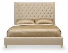California King-Sized Salon Upholstered Panel Bed in Alabaster (341)