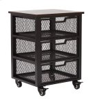 Garret Black 3 Drawer Rolling Cart With Espresso Wood Top, Fully Assembled. Product Image