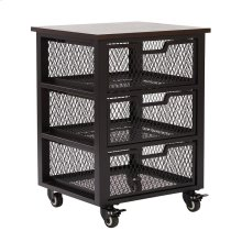 Garret Black 3 Drawer Rolling Cart With Espresso Wood Top, Fully Assembled.