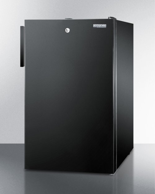 """Commercially Listed ADA Compliant 20"""" Wide Built-in Refrigerator-freezer With A Lock and Black Exterior"""