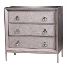 Mancini Mirrored Small Cabinet 3 Drawers, Cream/Silver