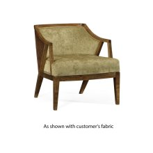 Oak & Rattan Occasional Chair, Upholstered in COM