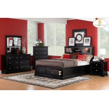 Queen Platform Bed with Headboard and Footboard Storages
