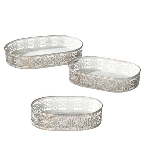 White and Gold Punched Brocade Tray set/3.