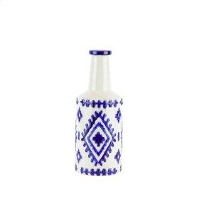 """Ceramic Bottle Vase, 12.5"""" White/blue"""